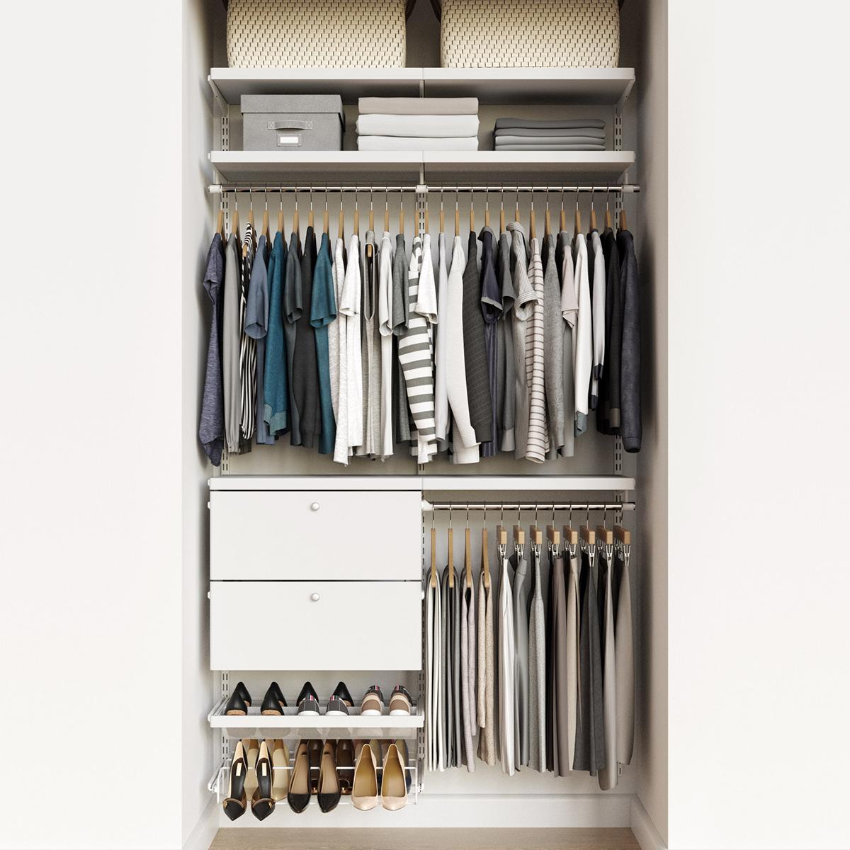 Elfa Decor 4 White White Reach In Drawer Front Closet